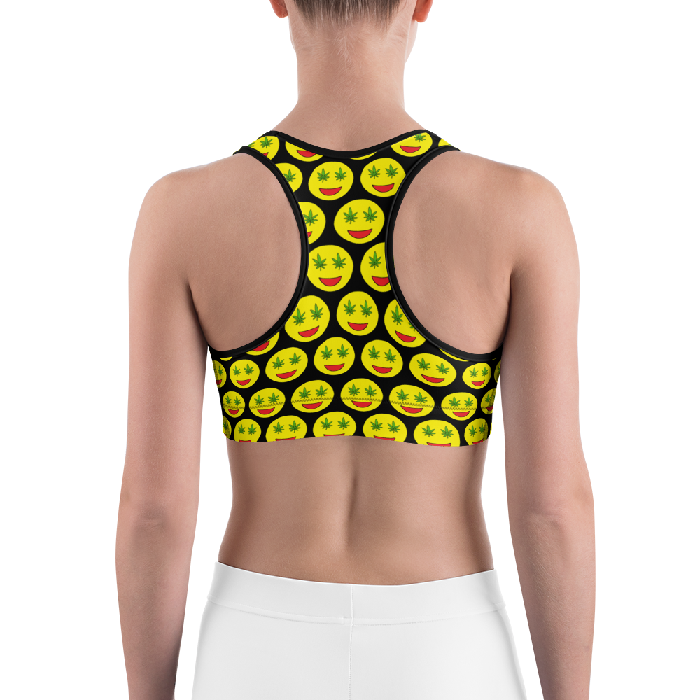 Smiley Weed Sports Bra