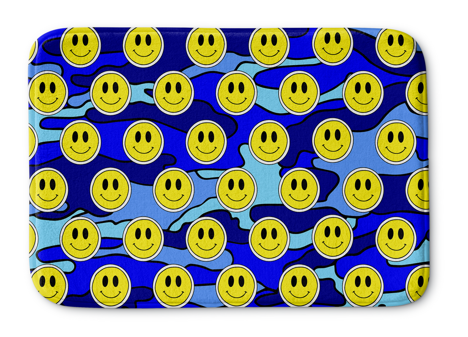 Smiley Blue Camo Bathmat