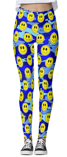 Smiley Blue Camo Thick Band Leggings