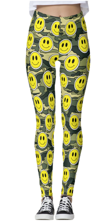 Smiley Green Camo Thick Band Leggings
