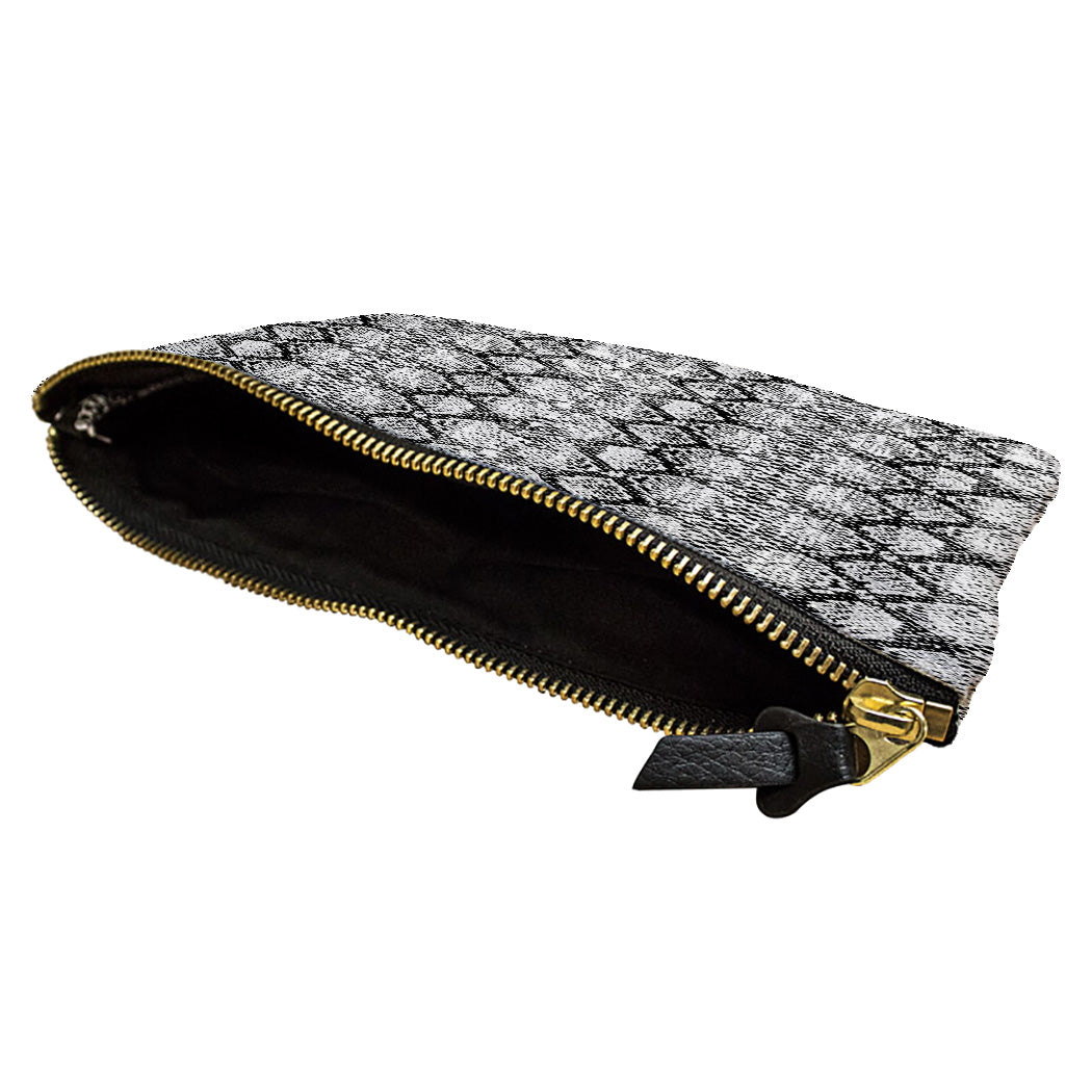 Gray Snakeskin Accessory Pouch
