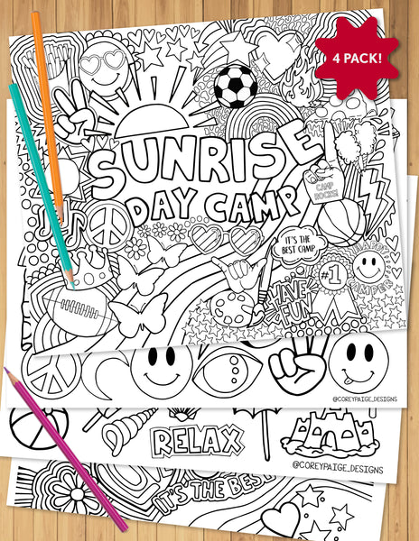 Sunrise Day Camp Coloring Sheet Pack