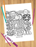 Camp Collage Coloring Sheets