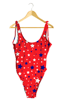 White & Blue Stars on Red One-Piece