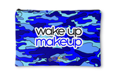 Blue Camo Wake Up Makeup Accessory Pouch