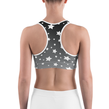 White Stars Gray Ombre Sports Bra