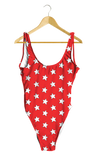 White Stars on Red One-Piece