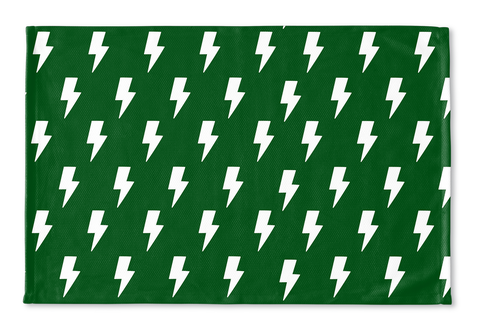 White Lightning Bolts on Green Floormat