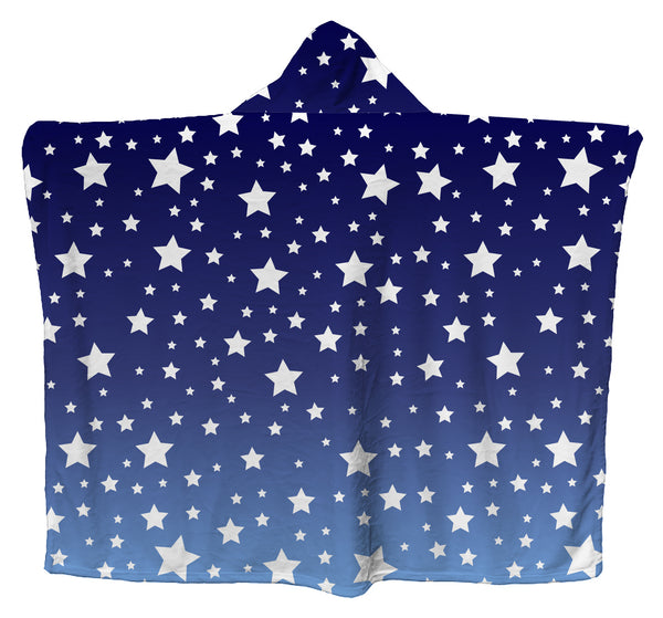 White Stars Blue Ombre Hoodie Blanket