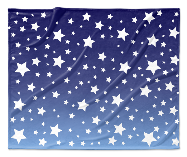 White Stars Blue Ombre Blanket