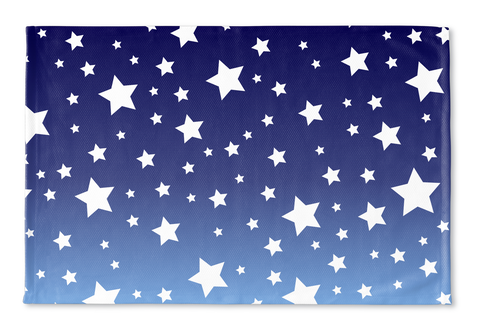 White Stars Blue Ombre Floormat