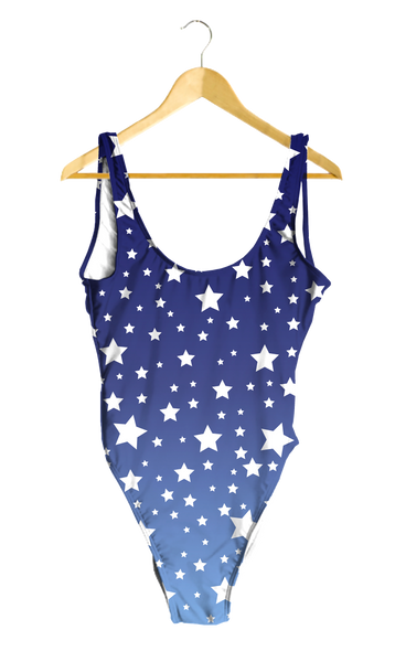 White Stars Blue Ombre One-Piece