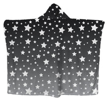 White Stars Gray Ombre Hoodie Blanket