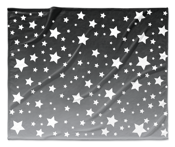 White Stars Gray Ombre Blanket