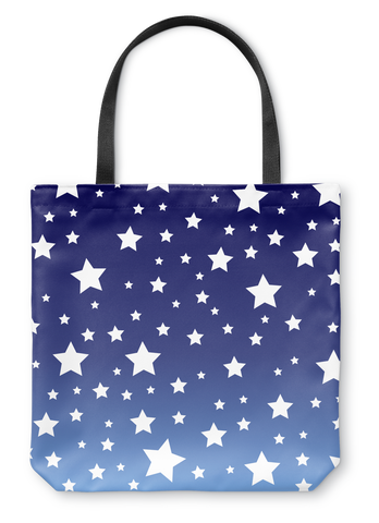 White Stars Blue Ombre Tote Bag