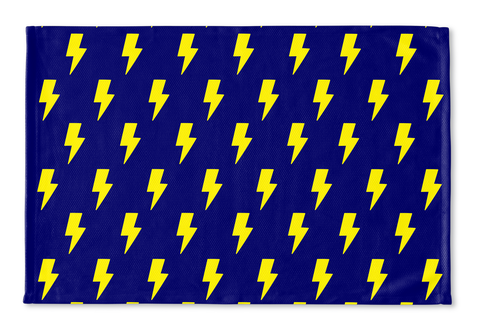 Yellow Lightning Bolts on Blue Floormat
