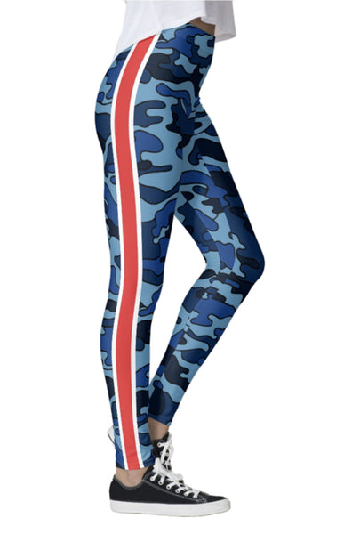 Navy Camo Red Stripe Leggings