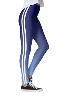 Blue Ombre Double White Striped Leggings