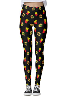 Burger & Fries Black Leggings