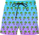 Palm Trees - Blue & Purple Ombre Swim Shorts