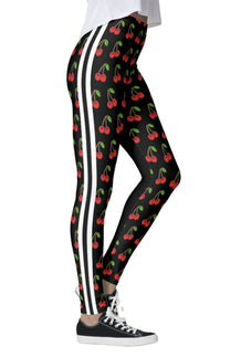 Cherries Double White Striped Leggings