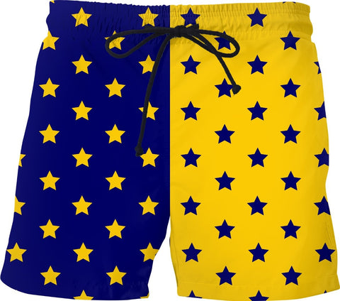 Blue & Yellow Split Stars Shorts