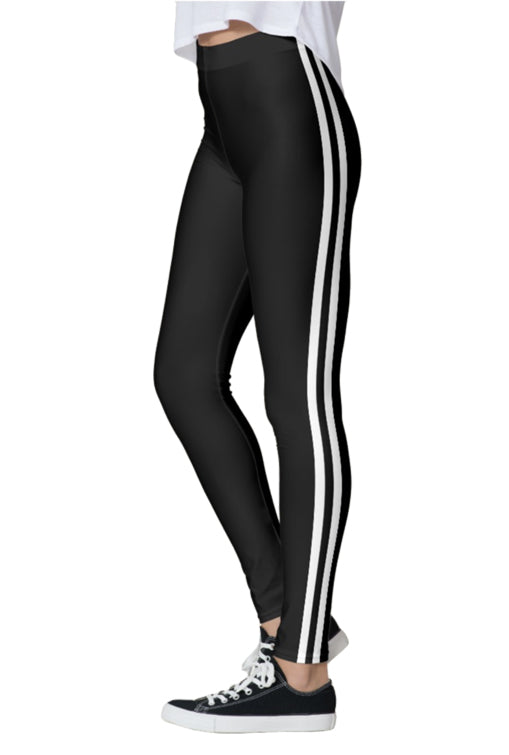 2142e203fdd09 Double White Stripe Black Leggings