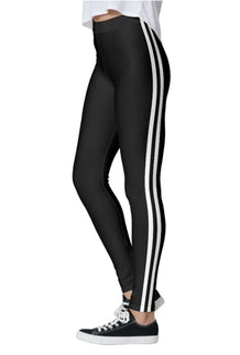 Double White Stripe Black Leggings