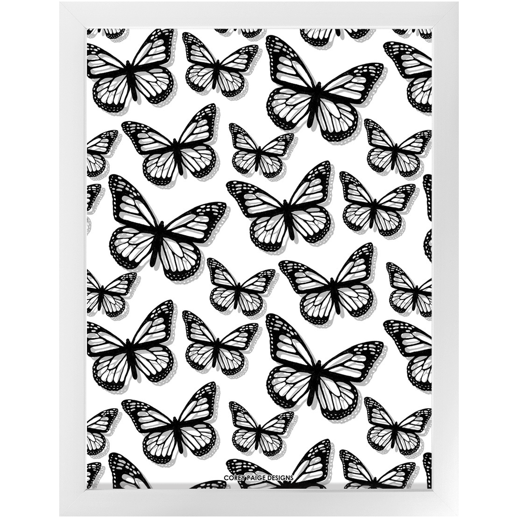 Black Butterflies Framed Print