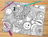 Hippie Collage Coloring Sheet