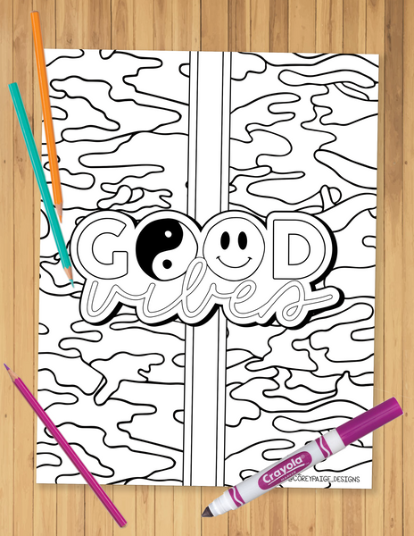 Good Vibes Camo Stripe Coloring Sheet