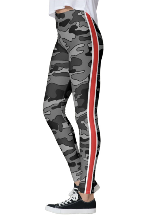Gray Camo Red Stripe Leggings
