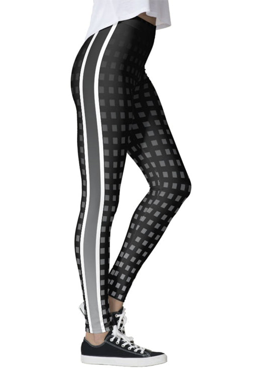Gray Ombre Grid Leggings