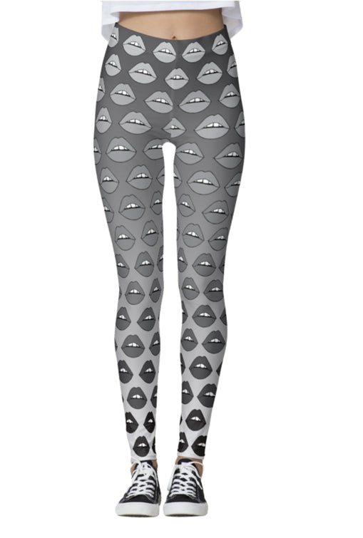 Gray Ombre Lips Leggings