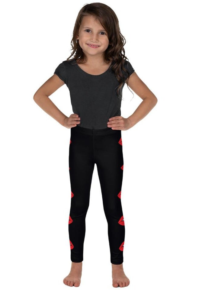 Side Red Lips Kid's Leggings