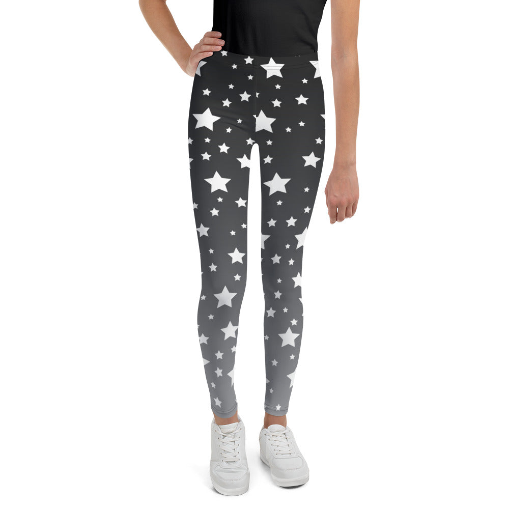 White Stars Gray Ombre Youth Leggings