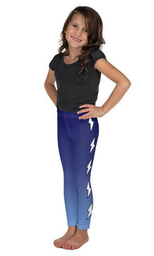 White Side Bolts Blue Ombre Kid's Leggings