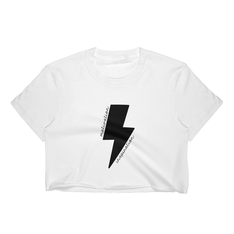 Black Lightning Bolt Motivation Cropped T-Shirt