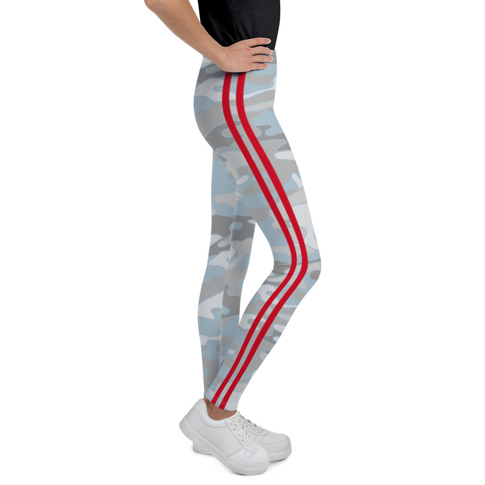 Beachy Camo Double Red Stripe Youth Leggings