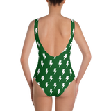 White Lightning Bolts on Green One-Piece