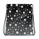 White Stars Gray Ombre Drawstring Bag