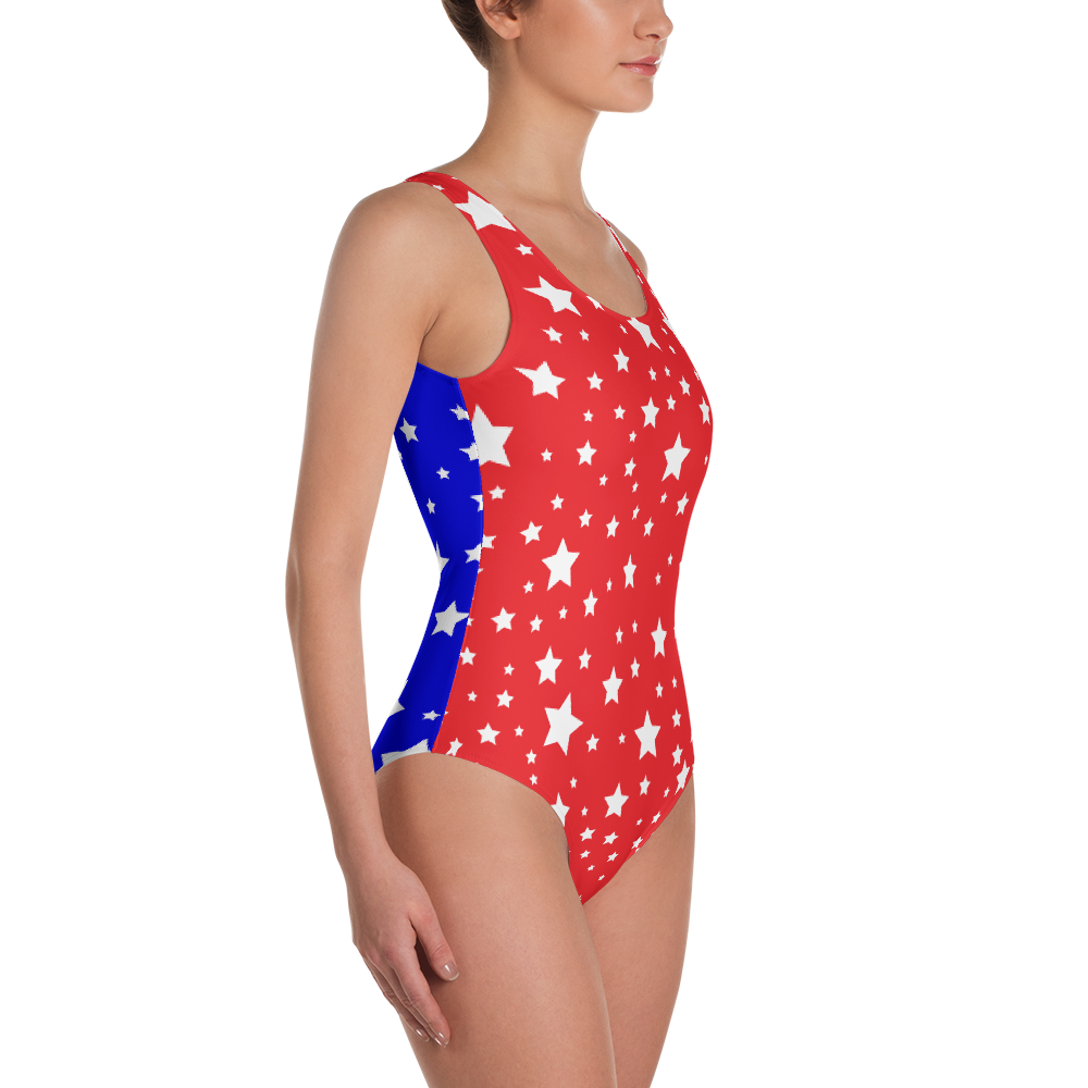 White Stars Red & Blue Split One-Piece