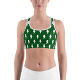 Green & White Lightning Bolts Sports Bra