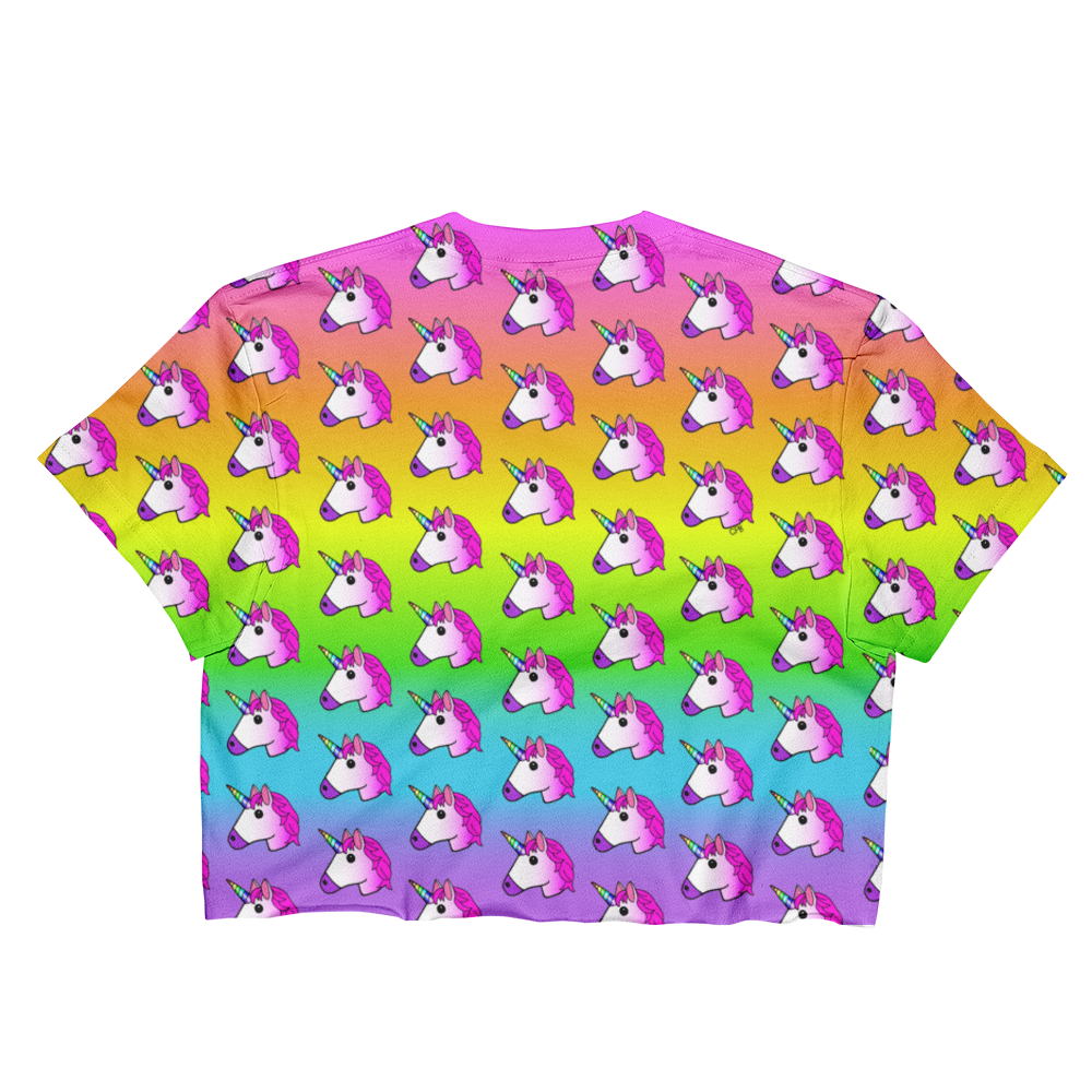 Unicorn Rainbow Ombre Cropped T-Shirt