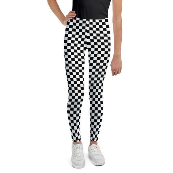 Black & White Checkered Youth Leggings