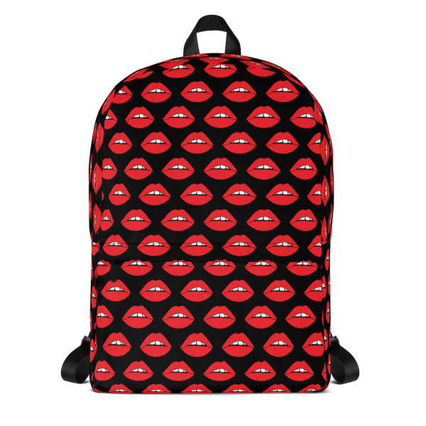 Lips on Black Backpack