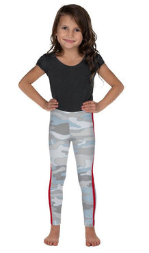 Beachy Camo Double Red Stripe Kid's Leggings