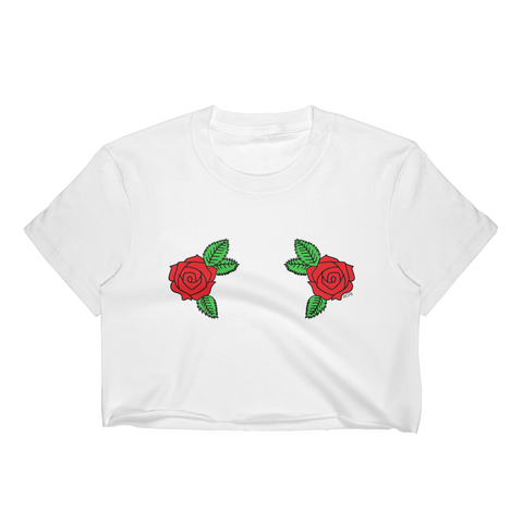 Double Roses T-Shirt Crop Top