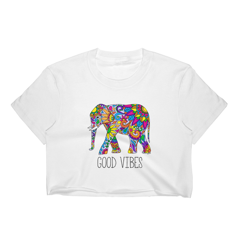 Good Vibes Elephant T-Shirt Crop Top