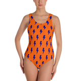 Orange & Blue Split Lightning Bolts One-Piece